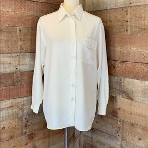 RENA ROWAN Ivory Button Down Silky Blouse